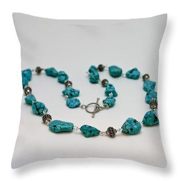 3599 Turquoise Necklace Throw Pillow by Teresa Mucha