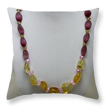 3603 Citrine And Amethyst Cats Eye Necklace Throw Pillow by Teresa Mucha