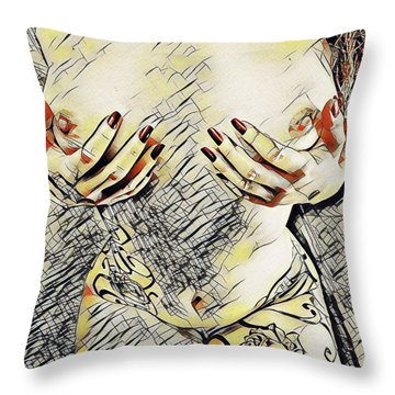 3787s-drl Cupping Her Breasts Erotica In The Style Of Kandinsky Throw Pillow