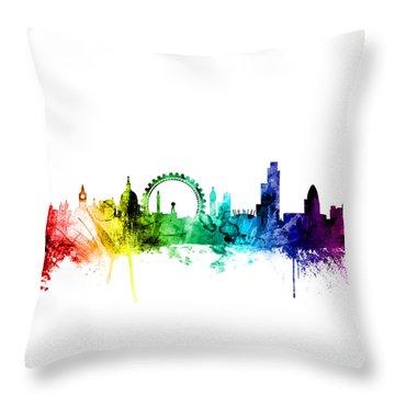 London England Skyline Throw Pillow by Michael Tompsett