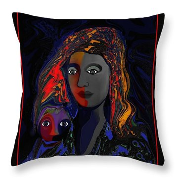 Throw Pillow featuring the digital art 381- Child Keep Your Mouth Shut 2017 by Irmgard Schoendorf Welch