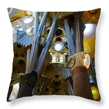 Artistic Achitecture Within The Sagrada Familia In Barcelona Throw Pillow by Richard Rosenshein