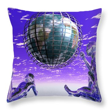 3d Aliens With Caged Earth Throw Pillow by Nicholas Burningham