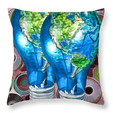 3d Render Of Planet Earth 15 Throw Pillow by Lanjee Chee