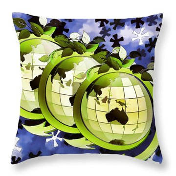 3d Render Of Planet Earth 16 Throw Pillow by Lanjee Chee