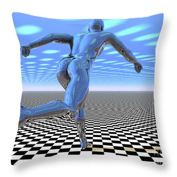 3d Runner Throw Pillow by Nicholas Burningham