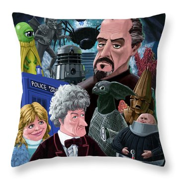 Throw Pillow featuring the digital art 3rd Dr Who And Friends by Martin Davey