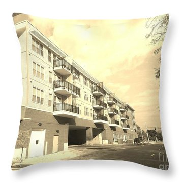 3rd Street Columbus Indiana - Sepia Throw Pillow by Scott D Van Osdol