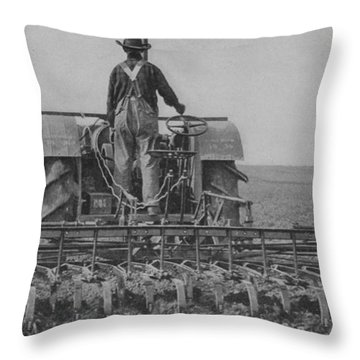 A Farmer Driving A Tractor Throw Pillow