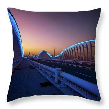Amazing Night Dubai Vip Bridge With Beautiful Sunset. Private Ro Throw Pillow