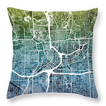 Atlanta Georgia City Map Throw Pillow
