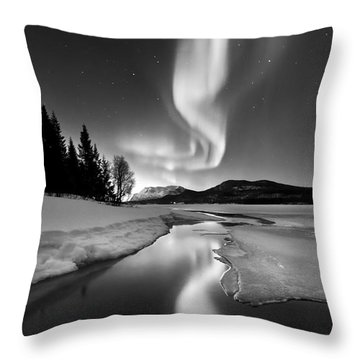 Aurora Borealis Over Sandvannet Lake Throw Pillow