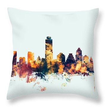 Austin Texas Skyline Throw Pillow by Michael Tompsett