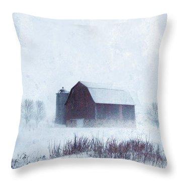 Barn In Winter Throw Pillow by Jill Battaglia