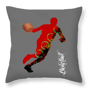 Basketball Collection Throw Pillow by Marvin Blaine