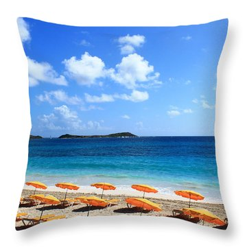 Beach Umbrellas Throw Pillow by Catie Canetti