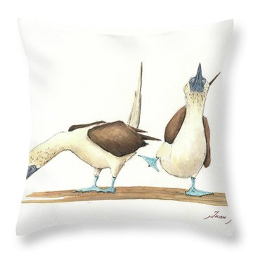 Blue Footed Boobies Throw Pillow by Juan Bosco