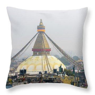 Boudhanath Stupa In Kathmandu Throw Pillow