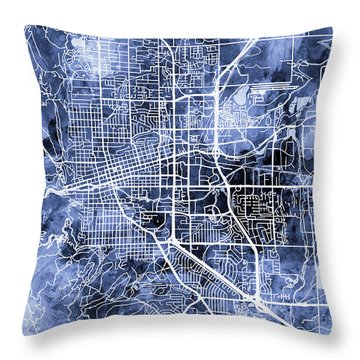 Boulder Colorado City Map Throw Pillow