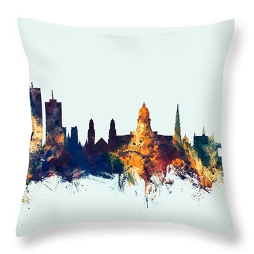 Throw Pillow featuring the digital art Brussels Belgium Skyline by Michael Tompsett