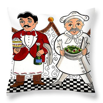 4 Chefs Throw Pillow by John Keaton