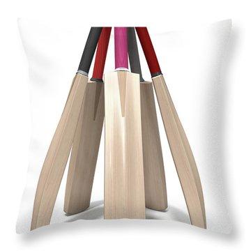 Cricket Bat Circle Throw Pillow