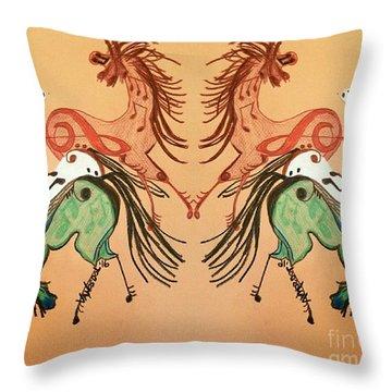 Dancing Musical Horses Throw Pillow by Scott D Van Osdol