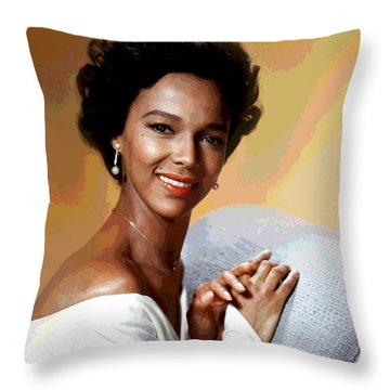 Throw Pillow featuring the mixed media Dorothy Dandridge by Charles Shoup