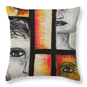 4 Faces Throw Pillow by Sladjana Lazarevic