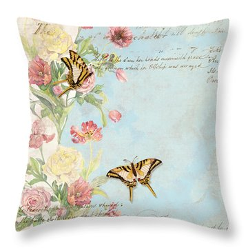 Fleurs De Pivoine - Watercolor W Butterflies In A French Vintage Wallpaper Style Throw Pillow