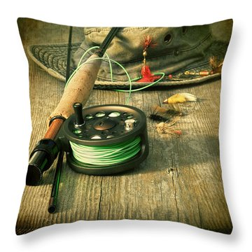 Fly Fishing Equipment With Old Hat On Bench Throw Pillow by Sandra Cunningham