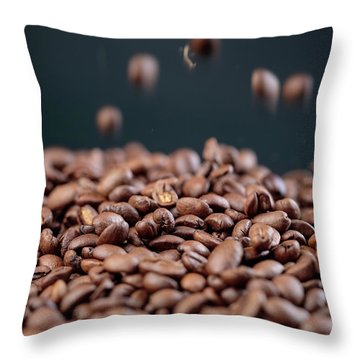 Fresh Roasted Coffe Beans Throw Pillow