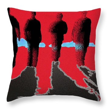 Throw Pillow featuring the drawing 4 Friends Walking Into The Sun by Robert Margetts
