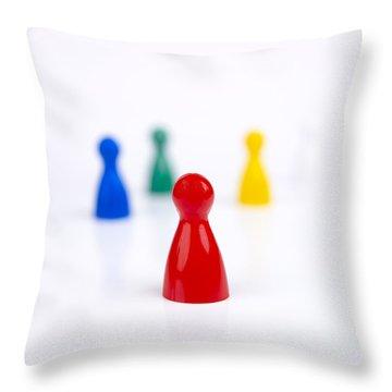 Game Pieces In Various Colours Throw Pillow by Bernard Jaubert