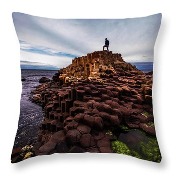 Man Atop Giant's Causeway Throw Pillow
