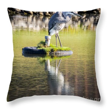 Throw Pillow featuring the photograph Great Blue Heron by Ricky L Jones