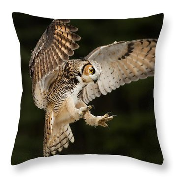 Great Horned Owl Throw Pillow by CR Courson