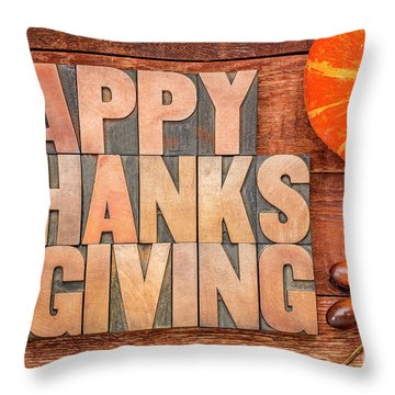 Happy Thanksgiving Greeting Card Throw Pillow