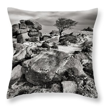 Holwell Tor On Dartmoor Throw Pillow