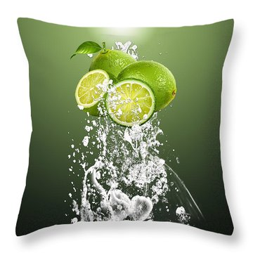 Lime Splash Throw Pillow by Marvin Blaine