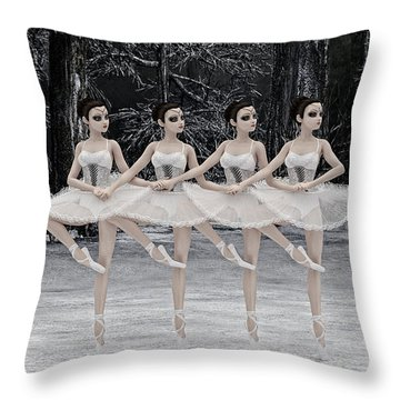 Throw Pillow featuring the digital art 4 Little Swans by Methune Hively