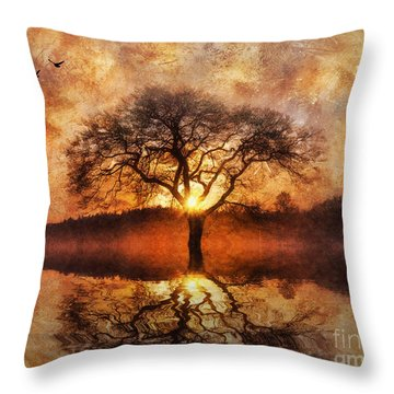 Throw Pillow featuring the digital art Lone Tree by Ian Mitchell