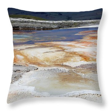 Mammoth Hot Springs Upper Terraces In Yellowstone National Park Throw Pillow by Louise Heusinkveld