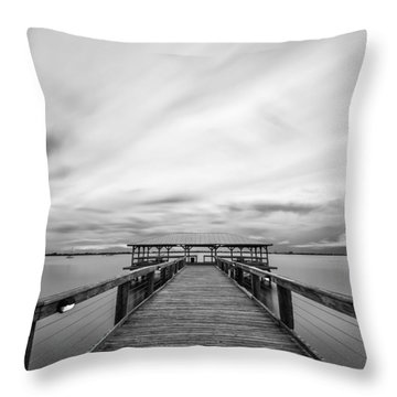 Melbourne Beach Pier Sunset Throw Pillow
