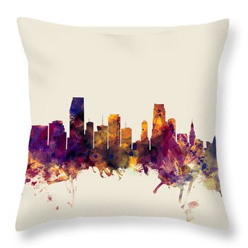 Miami Florida Skyline Throw Pillow by Michael Tompsett