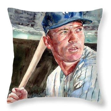Mickey Mantle Portrait Throw Pillow