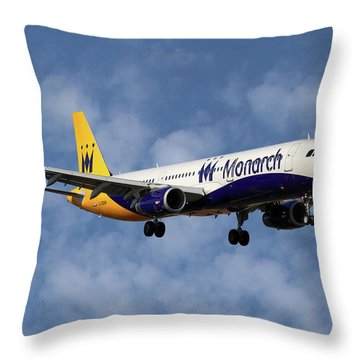 Monarch Airlines Airbus A321-231 Throw Pillow