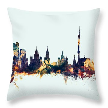 Moscow Russia Skyline Throw Pillow by Michael Tompsett