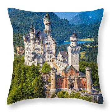 Neuschwanstein Fairytale Castle Throw Pillow