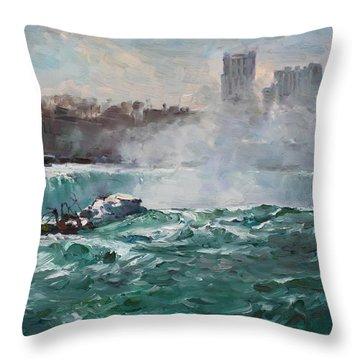 Niagara Falls Throw Pillow by Ylli Haruni